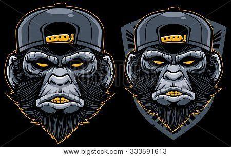 Cool Monkey Mascot. Angry Chimp Head In Baseball Cap Vector Illustration. Dangerous Mammal Badge. Ap