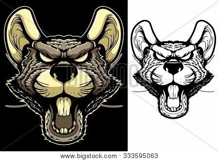 Rat Mascot. Angry Animal Head Vector Badge, Label, Sticker. Evil Rodent T Shirt Print. Ugly Furious