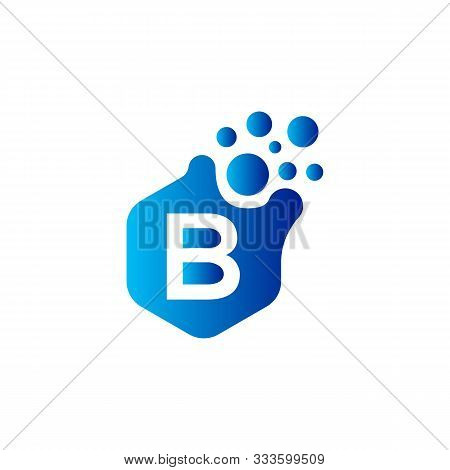 B Dots Letter Logo Design. Letter B Logo Design With Hexagon. B Logo Vector, Icon Design, Digital Ic