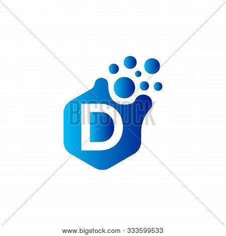 D Dots Letter Logo Design. Letter D Logo Design With Hexagon. D Logo Vector, Icon Design, Digital Ic