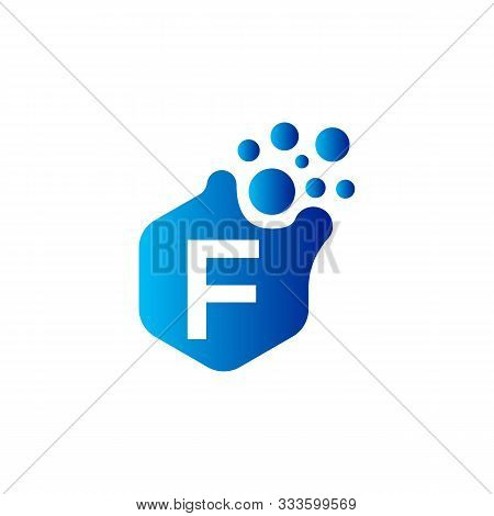F Dots Letter Logo Design. Letter F Logo Design With Hexagon. F Logo Vector, Icon Design, Digital Ic