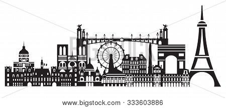 Panoramic Paris City Skyline Vector Illustration In Black And White Colors Isolated On White Backgro