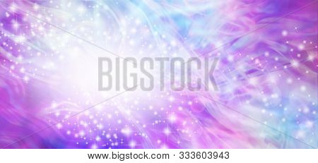 Wispy Swirling Blue Pink Ethereal Special Announcement Background Banner - Multicoloured  Banner Wit