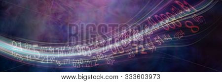 Flowing stream of Solfeggio and Numerology Master Numbers - wide deep purple numerology banner with solfeggio and master numbers flowing across left to right with copy space poster