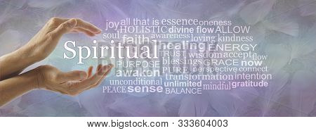 Spiritual Word Tag Cloud - Female Cupped Hands With The Word Spiritual Floating Between Surrounded B