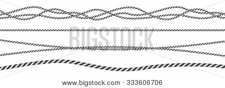Black And White Twisted And Straight Rope Set. Modern Vector Design Elements.