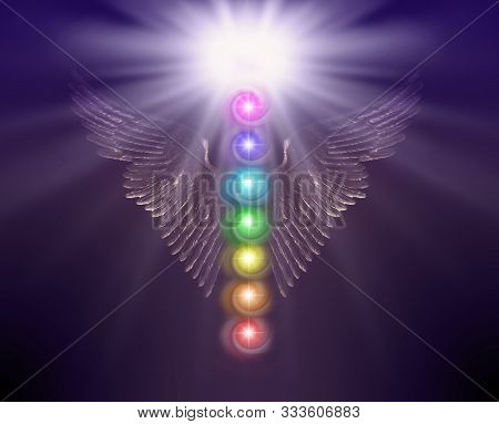 Angelic Sacred Healing Chakras - Golden Shimmering Angel Wings With Bright White Orb Above And Seven