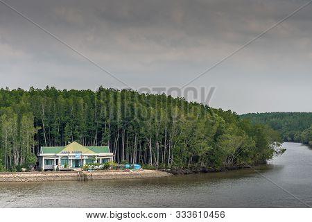 Long Tau River, Vietnam - March 12, 2019: Past Thieng Lieng Region, Short Cut Shallow Side Arm Empti