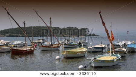 Sailboats In Port South Of France, At Sunset