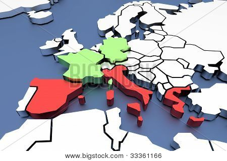 Three-dimensional map of Europe isolated.