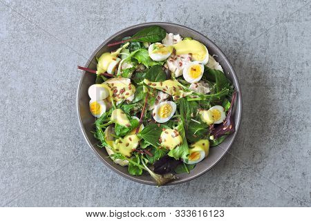 Healthy Colorful Salad Bowl. Salad With Chicken Breast, Quail Eggs And Flaxseeds. Concept Of Healthy