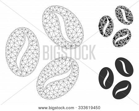 Mesh Cocoa Beans Model With Triangle Mosaic Icon. Wire Frame Polygonal Mesh Of Cocoa Beans. Vector C