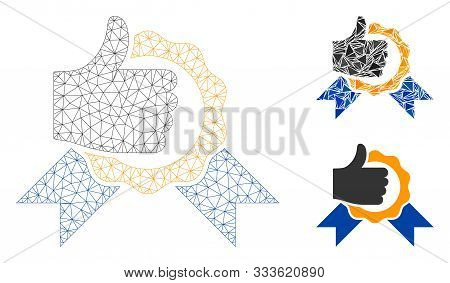 Mesh Excellent Model With Triangle Mosaic Icon. Wire Carcass Triangular Mesh Of Excellent. Vector Mo