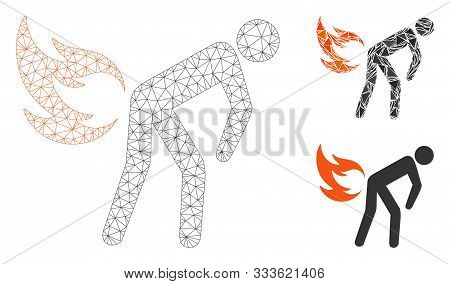 Mesh Fire Farting Model With Triangle Mosaic Icon. Wire Frame Polygonal Mesh Of Fire Farting. Vector