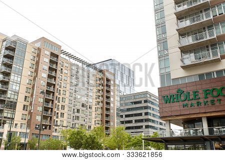 Denver, Colorado - May 19th, 2019: Condos And Highrise Buildings Near Union Station In Downtown Denv