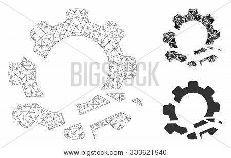 Mesh Gear Destruction Model With Triangle Mosaic Icon. Wire Frame Triangular Mesh Of Gear Destructio
