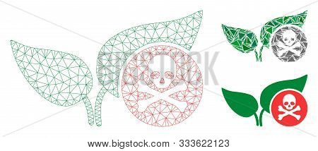 Mesh Herbicide Model With Triangle Mosaic Icon. Wire Frame Polygonal Mesh Of Herbicide. Vector Mosai
