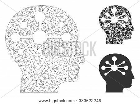 Mesh Human Intellect Model With Triangle Mosaic Icon. Wire Frame Triangular Mesh Of Human Intellect.