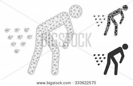 Mesh Man Diarrhea Model With Triangle Mosaic Icon. Wire Frame Triangular Mesh Of Man Diarrhea. Vecto