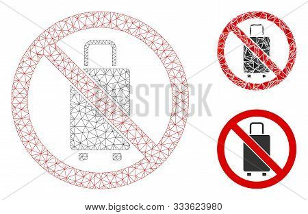 Mesh No Baggage Model With Triangle Mosaic Icon. Wire Frame Polygonal Network Of No Baggage. Vector