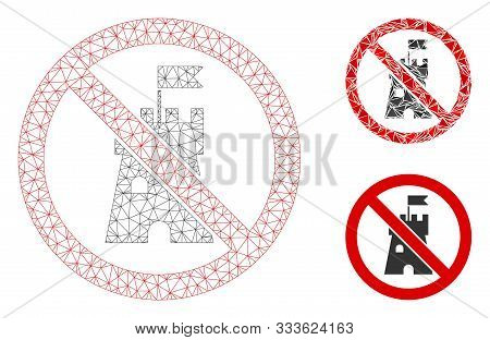 Mesh No Bastion Model With Triangle Mosaic Icon. Wire Carcass Triangular Mesh Of No Bastion. Vector