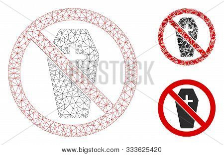 Mesh No Coffin Model With Triangle Mosaic Icon. Wire Carcass Triangular Mesh Of No Coffin. Vector Mo