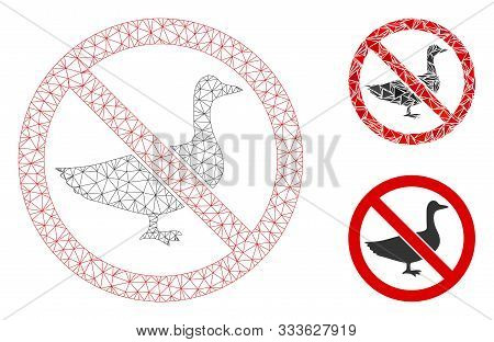 Mesh No Goose Model With Triangle Mosaic Icon. Wire Frame Triangular Mesh Of No Goose. Vector Collag