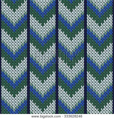 Handmade Downward Arrow Lines Knitting Texture Geometric Vector Seamless. Jacquard Knitwear Structur