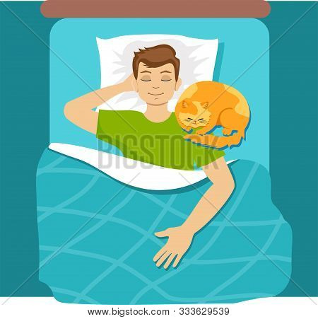 Man Sleeping In Bed With Cat. Guy Chilling At Home With Comfortable Cat In Relaxing Position. Sleep,