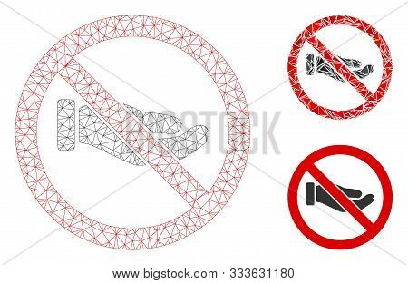 Mesh No Petition Hand Model With Triangle Mosaic Icon. Wire Carcass Triangular Mesh Of No Petition H