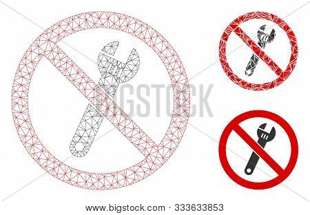 Mesh No Spanner Model With Triangle Mosaic Icon. Wire Frame Triangular Mesh Of No Spanner. Vector Co