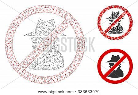 Mesh No Spy Model With Triangle Mosaic Icon. Wire Frame Polygonal Mesh Of No Spy. Vector Collage Of