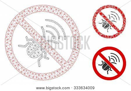 Mesh No Spy Bug Model With Triangle Mosaic Icon. Wire Frame Triangular Mesh Of No Spy Bug. Vector Mo