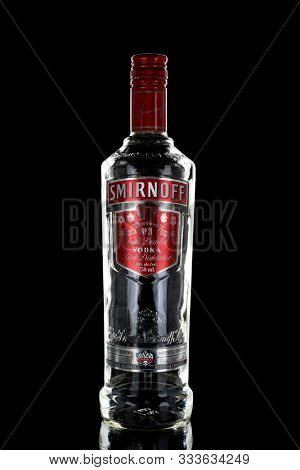TORONTO, CANADA - NOVEMBER 14, 2019: Smirnoff brand began with a vodka distillery founded in Moscow by Pyotr Arsenievich Smirnov (1831–1898). It is now distributed in 130 countries around the world