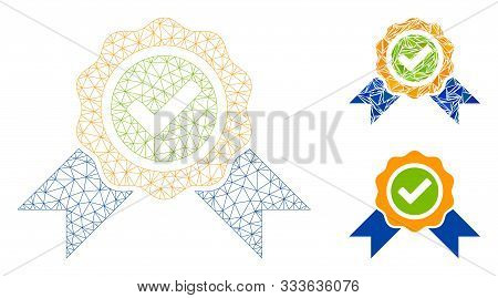 Mesh Official Model With Triangle Mosaic Icon. Wire Carcass Polygonal Mesh Of Official. Vector Compo