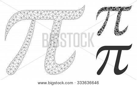 Mesh Pi Symbol Model With Triangle Mosaic Icon. Wire Frame Polygonal Mesh Of Pi Symbol. Vector Colla