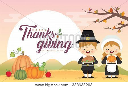 Thanksgiving Greeting Template. Cute Cartoon Pilgrim Couple Holding Roasted Turkey & Pumpkin On Autu