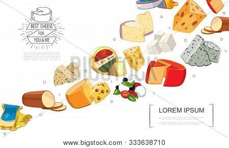 Cartoon Fresh Cheese Sorts Template With Gouda Dorblu Grano Padano Raclette Danablu Maasdam Mozzarel