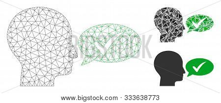 Mesh Say Yes Model With Triangle Mosaic Icon. Wire Carcass Triangular Mesh Of Say Yes. Vector Collag