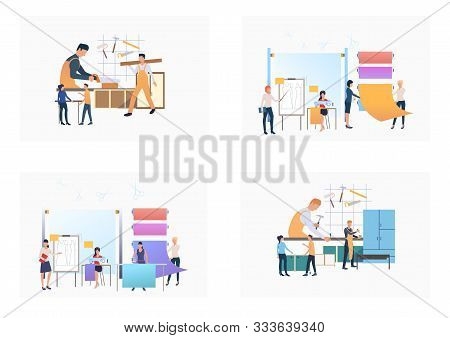 Set Of People Working In Tailoring Centre. Flat Vector Illustrations Of Dressmakers Designing Clothe