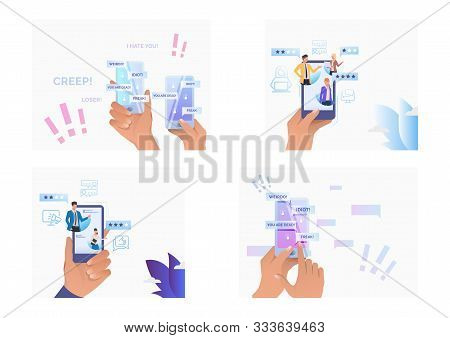 Set Of People Writing Comments For Service Online. Flat Vector Illustrations Of People Commenting In