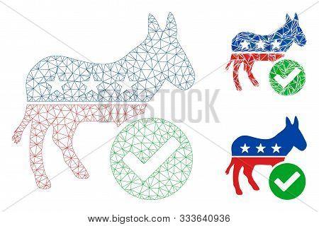 Mesh Vote Democrat Donkey Model With Triangle Mosaic Icon. Wire Carcass Triangular Mesh Of Vote Demo