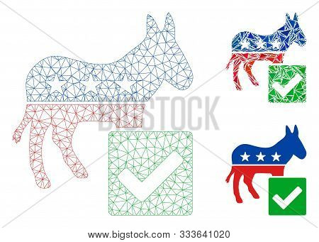 Mesh Vote Democratic Model With Triangle Mosaic Icon. Wire Carcass Polygonal Mesh Of Vote Democratic