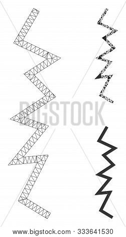 Mesh Zigzag Line Model With Triangle Mosaic Icon. Wire Frame Polygonal Mesh Of Zigzag Line. Vector M