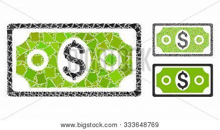 Banknote Mosaic Of Unequal Pieces In Variable Sizes And Color Tones, Based On Banknote Icon. Vector