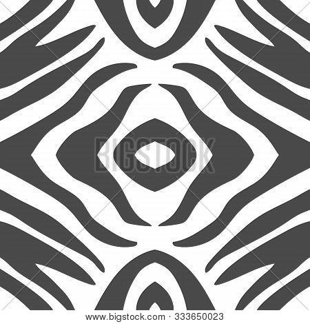 Geometric Zebra Stripes Seamless Pattern Background. Abstract Black And White Animal Print. Can Be U