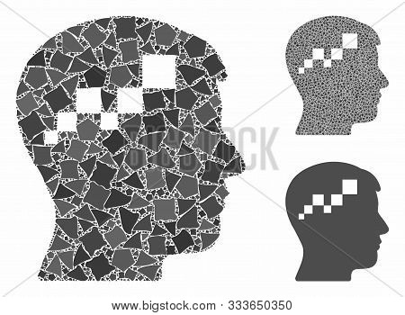 Brain Blockchain Mosaic Of Bumpy Items In Different Sizes And Color Tints, Based On Brain Blockchain