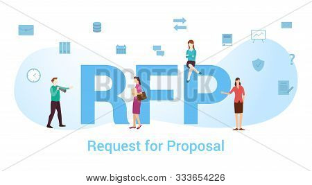 Rfp Request For Proposal Concept With Big Word Or Text And Team People With Modern Flat Style - Vect