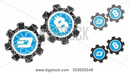 Dash Bitcoin Gears Mosaic Of Abrupt Items In Variable Sizes And Color Tints, Based On Dash Bitcoin G