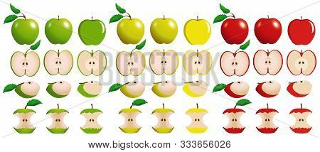 Set Of Juicy Red, Yellow And Green Apples With Slices And Bitten Apples Isolated On White Background